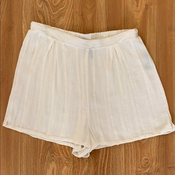 Urban Outfitters Pants - Cream embroidered shorts